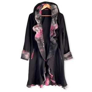 Ruffled Wire Collar Long Black Coat Design Today's